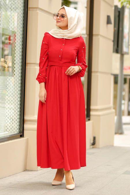 New Kenza Boncuk Detayli Kemerli Kirmizi Tesettur Elbise 3158k Tesetturisland Com The Dress Musluman Elbisesi Kadin Kiyafetleri