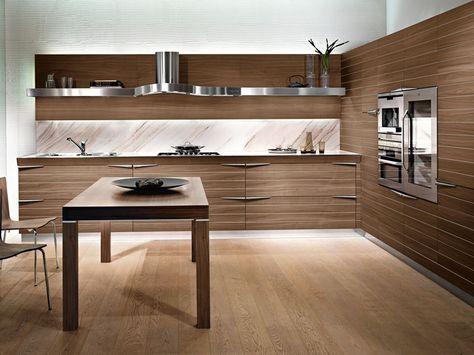 Cuisine intégrée linéaire en noyer TIME by Snaidero design Lucci ...