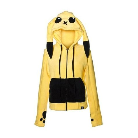Cupcake Cult Striker Pokemon Pikachu Hoodie (Yellow) - Medium:... ❤ liked on Polyvore featuring jackets