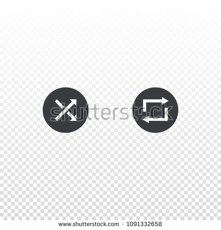 Vector Shuffle And Repeat Icon Isolated On Transparent Background Outline Element For Design Mobile App Website Or Music Player Simple Interface Button