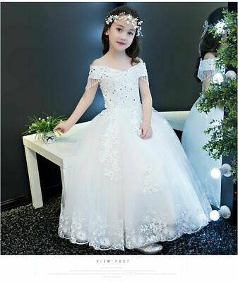 Flower Girl Dress Princess Embroidered  Bridesmaid Wedding Party Tulle Dress ZG9