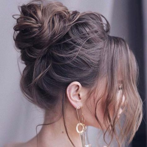 21 Cute and Easy Messy Bun Hairstyles Messy High Bun for Special Occasions Bun Hairstyles For Long Hair, My Hairstyle, Elegant Hairstyles, Model Hairstyles, Wedding Hairstyles, Hairstyle Ideas, Beach Hairstyles, Fashion Hairstyles, Creative Hairstyles