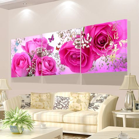 Canvas PICTURES FLORAL Rose Abstract Modern Wall Pictures XXL Living Room Art Print