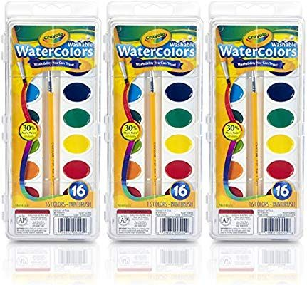 Crayola Washable Watercolor Paint 16 Colors Pack Of 3 Kids