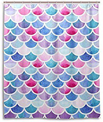 Waterproof Fabric Bathroom Shower Curtain Watercolor Mermaid Tale Fish Scales