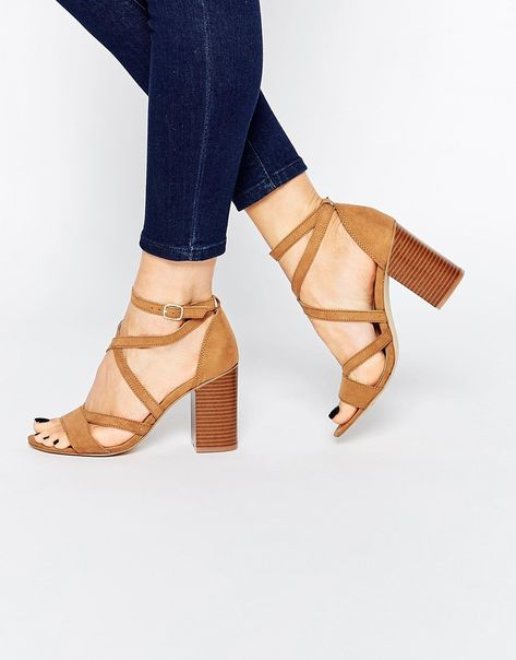 Details about  /Womens Suede Leather Peep toe Cut out Party Shoes Mid Block Heel Slip on Sandals