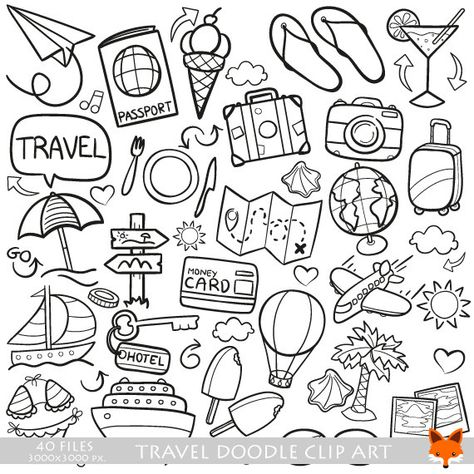 Travel Friends and Family Trip Holidays Summer Doodle Icons Clipart Scrapbook Set