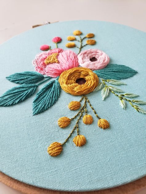 Peony Cluster Embroidery Pattern, Floral Embroidery Design