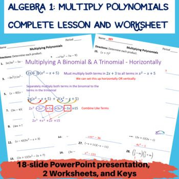 This Lesson Contains Everything You Need To Teach Multiplying Polynomials To Your Algebra Students This Less Polynomials Powerpoint Lesson High School Algebra