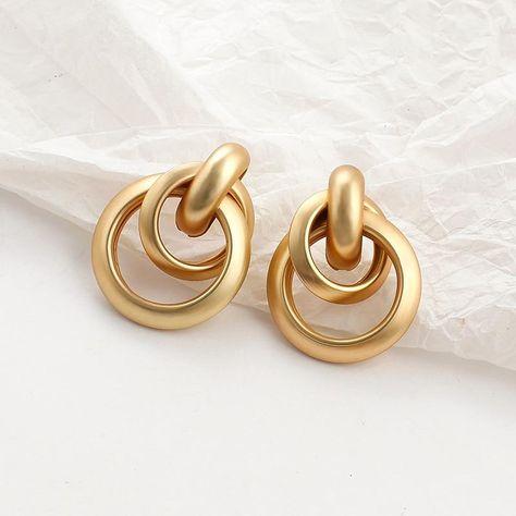 Gold Geometric Earrings - Circular Drop