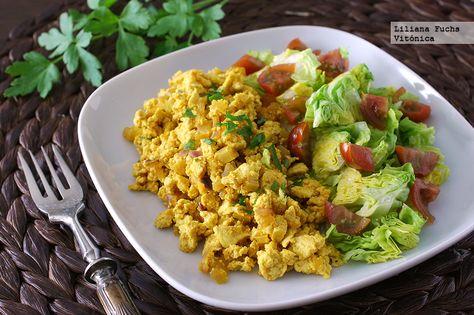Receta vegana de revuelto de tofu. Con fotos del paso a paso, consejos y sugerencias de degustación. Recetas saludables. Recetas veganas y vegetar...