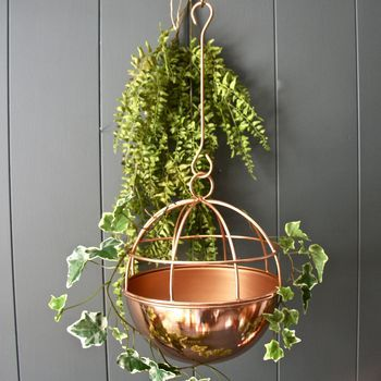 Copper Globe Hanging Planter Hanging Plants Hanging Planters Metal Wall Planters