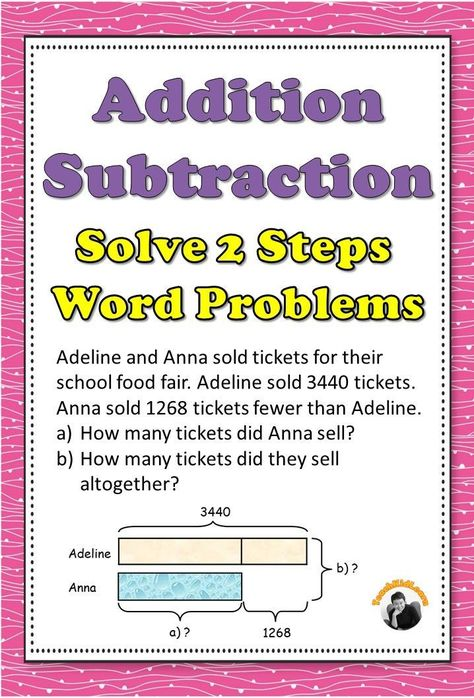 Addition Subtraction Worksheets 2 Steps Word Problems 3rd 4th