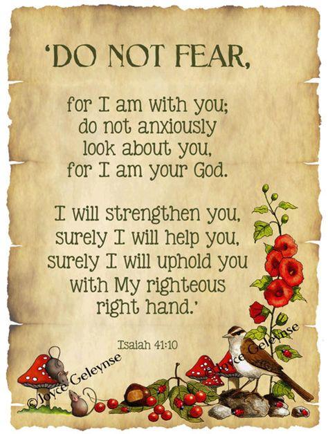 Bible Verse Isaiah Do Not Fear: Nature Art Bird Flowers
