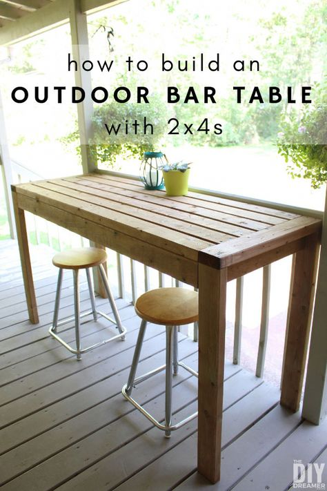 How to build an outdoor bar table with This DIY outdoor table can also be used as an outdoor work table. DIY project using only How to build an outdoor bar table with This DIY outdoor table can also be used as an outdoor work table. DIY project using only Bar Table Diy, Outdoor Bar Table, Bar Tables, Outdoor Bars, Diy Patio Tables, High Bar Table, Diy Bar Stools, Dining Table, Diy Garden Furniture