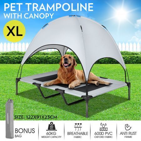 Heavy Duty Pet Trampoline Cot With Cot Canopy X Large Outdoor Pet Bed Outdoor Dog House Cot Canopy