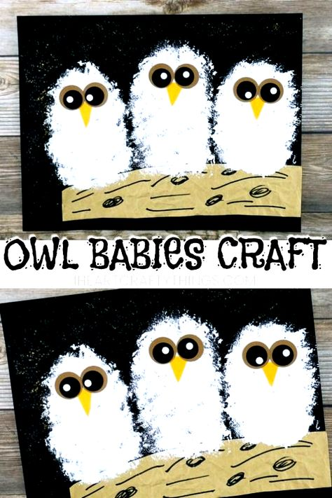 Adorable owl babies craft to go with the book Owl Babies by Martin Waddell. Cute owl craft for kids and fall art project for kids. #owl #owlart #kidscrafts #kidsart #artprojectsforkids #iheartcraftythings