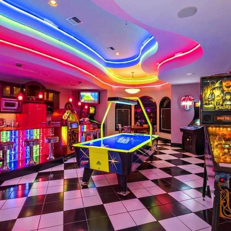 Lavish Florida estate with an old fashioned themed soda parlour and game room! More info via . Neon Aesthetic, Aesthetic Room Decor, Arcade Game Room, Arcade Games, Deco Restaurant, Dream Mansion, Bedroom Wall Collage, Game Room Decor, Game Room Bar