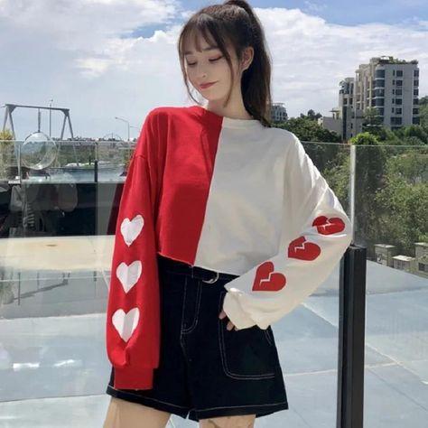 Cute New Heart Sweater For Women - Black / S