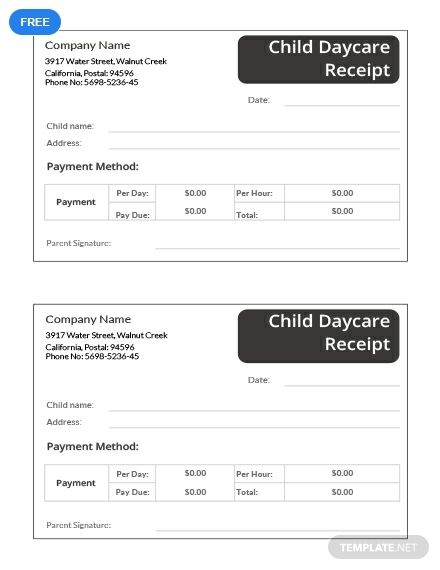 Child Daycare Receipt Template Free Pdf Word Excel Apple Pages Apple Numbers Receipt Template Words Templates