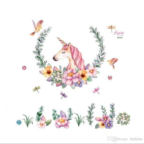 Cartoon Wall Sticker Unicorn Flower Birds Removable PVC Wall Decals Home Decor Sticker Mordern Art Mural Living Room Room Wall Stickers Roommates Stickers From Qwonly_shop, $3.91| DHgate.Com