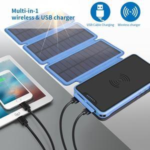 Solar Power Bank 20000mah Wireless Charger Waterproof Quakeproof Dustproof For Xiaomi Iphone Dermatoglyphic Folding Solar Panel Solar Power Bank Solar Power Powerbank