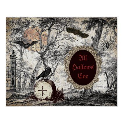 Halloween 2020 Poster Custom ALL HALLOW'S EVE VINTAGE HALLOWEEN POSTER | Zazzle.in 2020