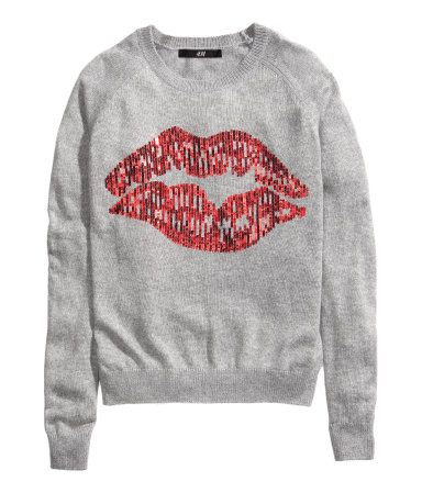 H M Red Lips Grey Jumper Fashion H M Fashion Fashion Outfits
