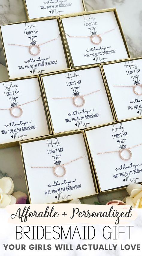 """Affordable & personalized bridesmaid gift favor that is the perfect surprise your girls will love! Timeless bridesmaid gift idea. This """"will you be my bridesmaid?"""" gift is a must-have. Check out more wedding favors, bridesmaid gifts and more at Love Leigh Gift Co.  #weddings #bridesmaidideas #bridesmaidgiftideas #weddingfavors #weddinggifts #weddingfavoridea #bridesmaidpartygift #willyoubemybridesmaid #weddingideas #bridesmaidfavorideas #weddingplanning #futureweddingideas"""