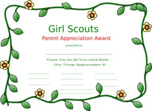 girl scout parent appreciation certificate for girls to sign