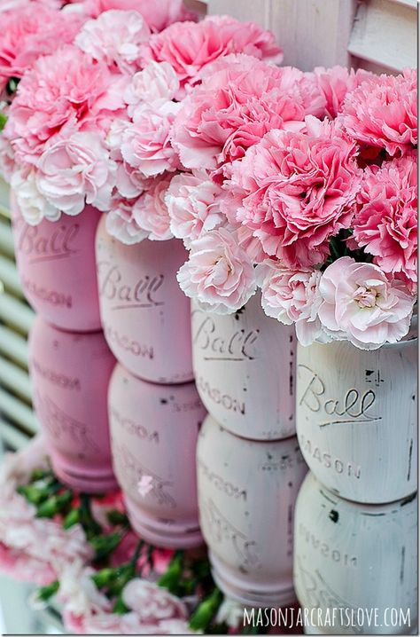 DIY pink ombre painted mason jars