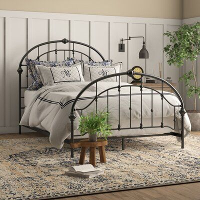 Humphrey Panel Bed Size Queen Color Antique Dark Bronze In 2020 Iron Bed Frame Iron Bed Wrought Iron Bed Frames