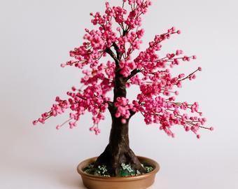 Cherry Blossom Bonsai Tree Office Decor Wire Tree Sculpture Etsy In 2020 Cherry Blossom Bonsai Tree Bonsai Tree Wire Tree Sculpture