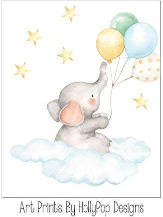 Elephant nursery art, Elephant with balloons, Elephant in clouds, Baby wall decor, Baby boy artwork, Elephant nursery print Yellow blue nursery art #e... - #balloons #clouds #decor #elephant #Nursery - #DecorationBalloon