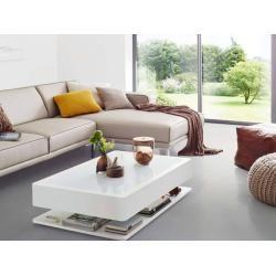 Couchtisch Mit Led Licht Weisser Wohnzimmertisch Design