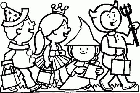 Quattro Bambini Vestiti Per La Festa Di Halloween Disegni Gratis