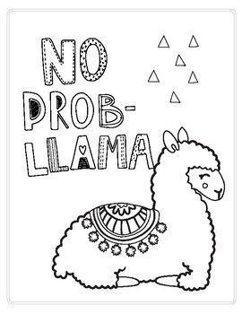 No Prob Llama Printable Coloring Page Easy Coloring Pages
