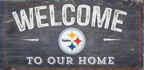 Fan Creations Nfl Welcome Wall Du00e9cor Ad Affiliate Sponsored Creations Du00e9cor Wall Fan Distressed Wall Art Steelers Sign Steelers