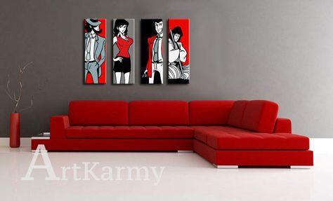 Divano Rosso E Nero : I quadri lupin nelle diverse misure e raffigurazioni con il loro