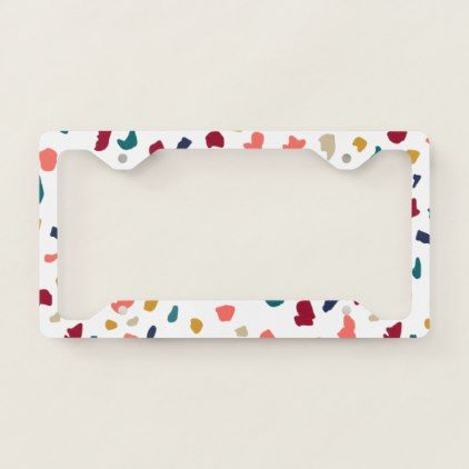Modern Abstract Marble Mozaic Terrazzo Pattern License Plate Frame Cute Car Accessories New Car Accessories Car Accessories For Guys