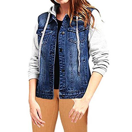 UK Womens Baggy Casual Hooded Denim Long Coat Jacket Outwear Jeans Overcoat Tops