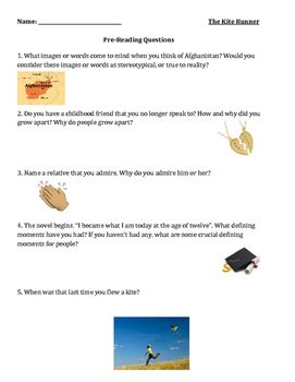 The Kite Runner Lesson Pre Reading Questions The Kite Runner This Or That Questions Lesson