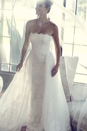 Lace Sheath Wedding Dress With Removable Overskirt David S Bridal Sheath Wedding Dress Lace Wedding Dresses Boho Wedding Dress