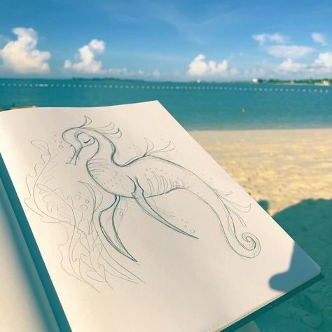 Caroline Boyk Purdue On Instagram Spent The Week On Vacation Yay Found Myself Drawing Lots Of Sea Dragons And I Might Need To Turn Some Of These Guy Founde
