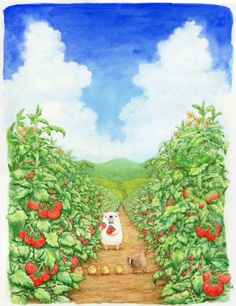 ちっぷのイラスト - yaseinosyokoku ページ!    Tomato harvesting anyone? How cute is the ducks? #cuteanimals #kawaiiart #cutebear