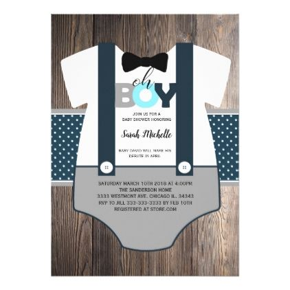 OH boy baby shower invitation bow tie baby shower Card - invitations personalize custom special event invitation idea style party card cards