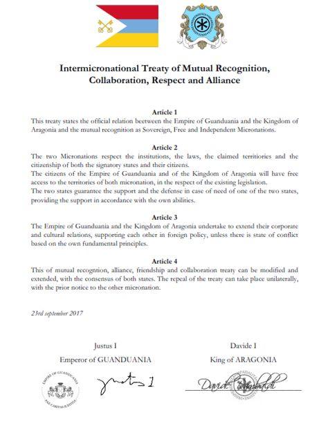 Treaty of Mutual Recognition and Cooperation between Guanduania - mutual consensus