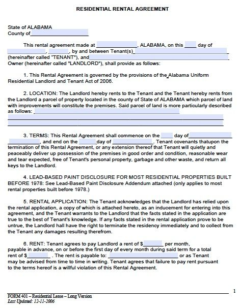 Printable Sample Monthly Rental Agreement Form Real Estate Forms - blank lease agreement template