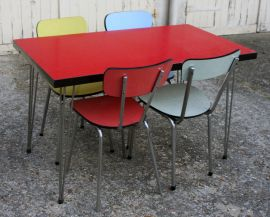 Table Formica Rouge Pieds Eiffel Chaises Formica Vintage Table