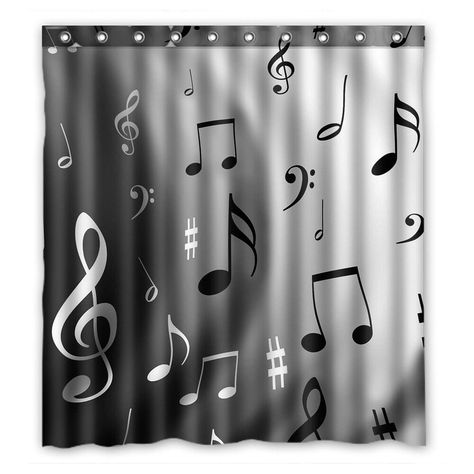 Extra Long Polyester Shower Curtain Black White Stripe 60 X 72